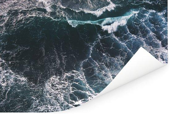Luchtfoto van golven Poster 180x120 cm - Foto print op Poster (wanddecoratie woonkamer / slaapkamer) XXL / Groot formaat!