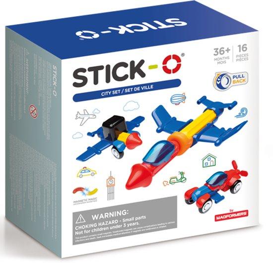 Stick-O City Voertuigenset - Magnetisch bouwspeelgoed - 16 onderdelen