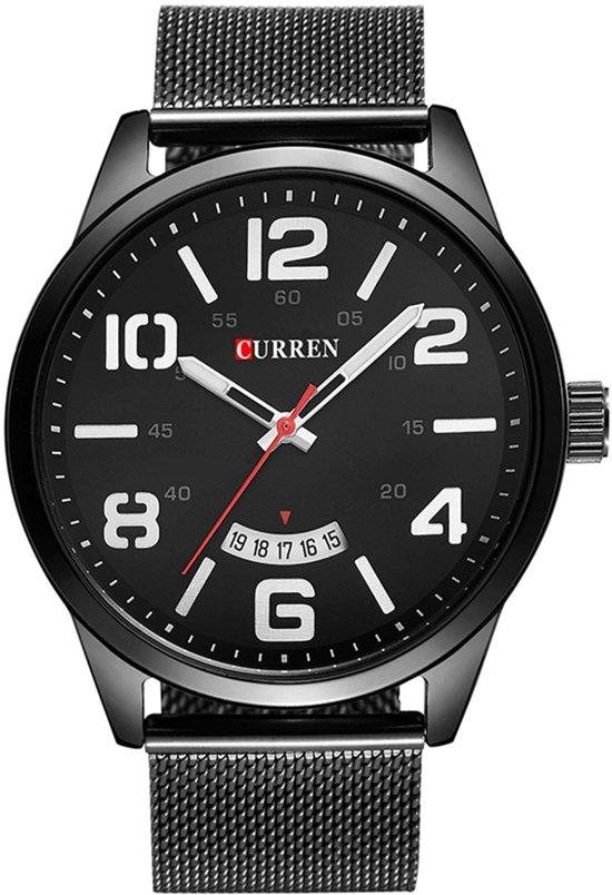 Curren 'Black Mesh' Heren Horloge   Zwart/Zwart   Staal   40 mm