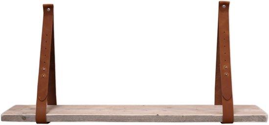 Los Steigerhout Kopen.Bol Com Leren Plankdragers Cognac Set Met Steigerhout