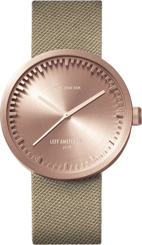LEFF amsterdam tube watch D38 rose gold / sand nylon-leather strap