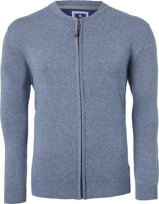 Redmond heren vest katoen - jeansblauw (met rits) -  Maat XL