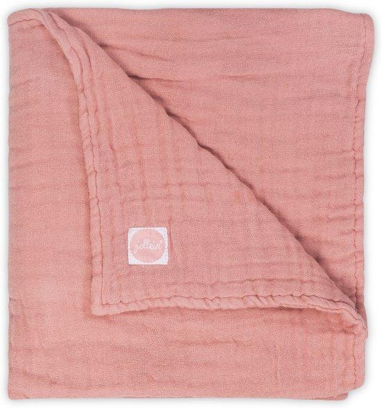 Jollein Wrinkled Deken hydrofiel 75x100cm coral pink