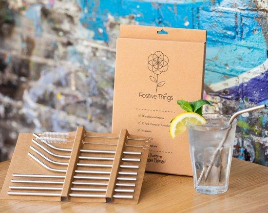Positive Things™ Duurzame RVS rietjes - Set van 10 (8 rietjes + 2 borsteltjes + linnen zakje) - Roestvrijstalen / metalen rietjes - 4 rechte en 4 gebogen