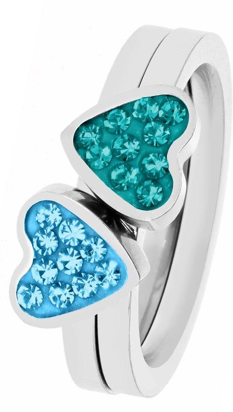 Lucardi - Little Miss Fabulous - Stalen kinderring 2in1 blue zircon/aqua kristal
