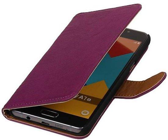 Mobieletelefoonhoesje.nl - Samsung Galaxy E7 Hoesje Washed Leer Bookstyle Paars in Schalkhaar