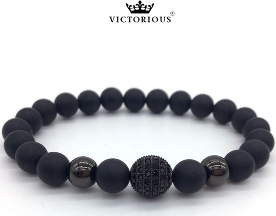 Victorious - Armband Zwarte Natuurstenen - Zwarte Bol- Vanaf 17cm