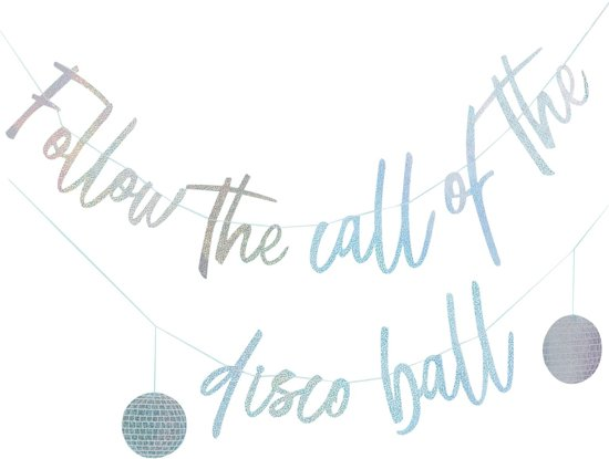 Ginger Ray Good Vibes 'Follow the call of the disco ball' - holografisch - 2 delig - 3 meter Valentinaa