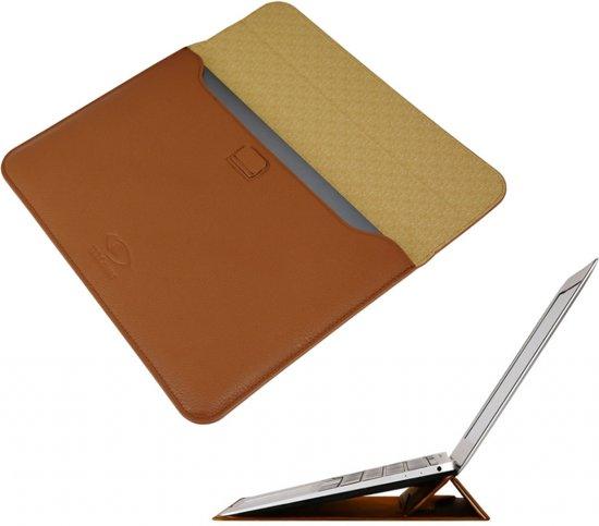 12 inch Luxe Ultra Sleeve met ergo Standfunctie, Tablet Hoes, macbook hoes, ook voor andere ultrabooks, max afmeting 281 x 200mm (+/-11.6 inch tot 13 inch), bruin , merk i12Cover