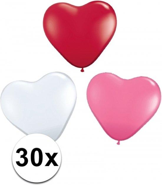 Hartjes ballonnen rood/  wit/ roze 30 st Valentinaa