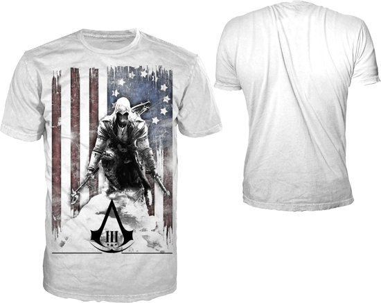 Assassin's Creed III Wit T-Shirt Burned Flag Maat XL