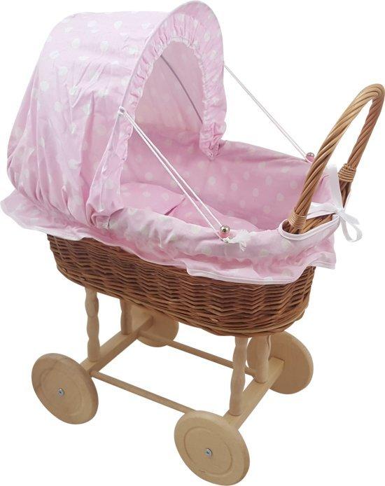 Playwood - Rieten poppenwagen licht roze met witte stippen met opvouwbare stoffen kap - Houten wielen