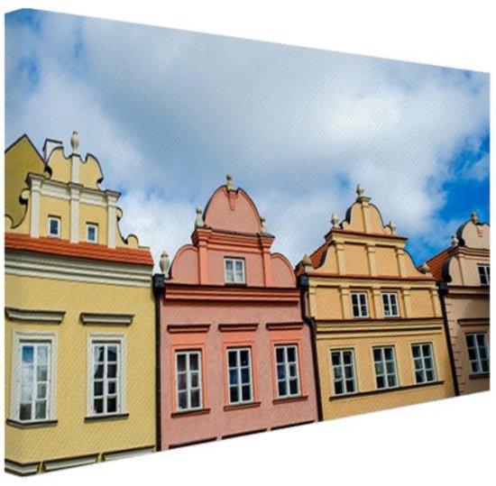 Kleurrijke huizen Warschau Canvas 60x40 cm - Foto print op Canvas schilderij (Wanddecoratie)