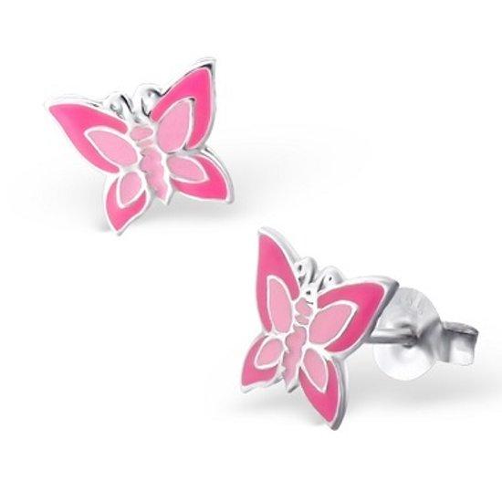 Little Bijoux oorknopje-vlinder roze