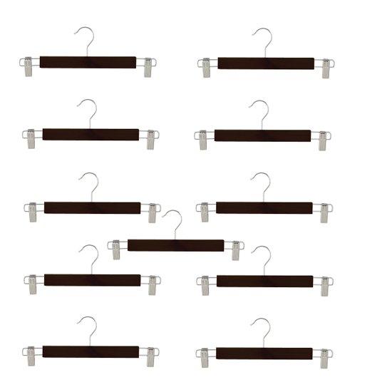10 (+ 1 GRATIS) zwarte houten kledinghangers van 34 cm breed met twee klemmen