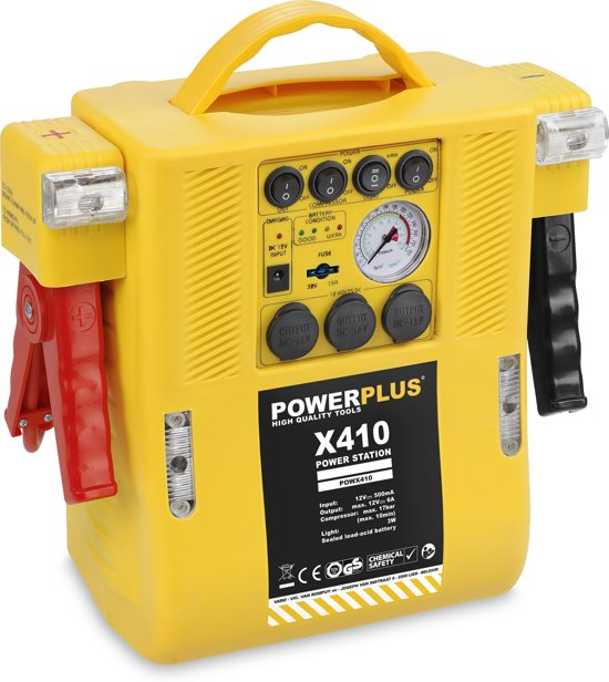 Powerplus POWX410 Jumpstarter 4-in-1 (voeding met drie 12V-uitgangen/starthulp/compressor/licht) - Max. 17 bar