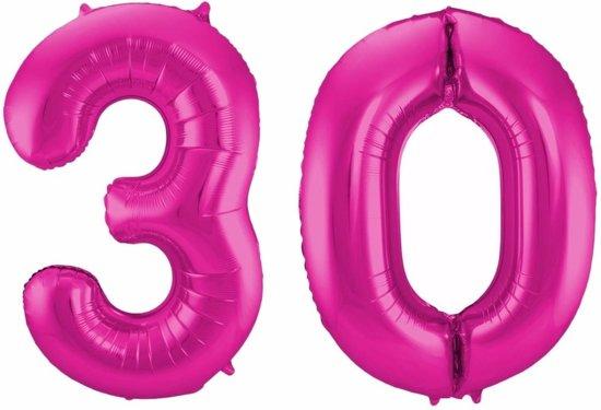 ballonnen 30 jaar bol.| Cijfer 30 ballon roze 86 cm   30 jaar folieballon  ballonnen 30 jaar