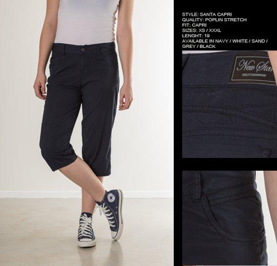 e2d1b1a4bfb bol.com | New Star dames capri broek zwart poplin - maat M