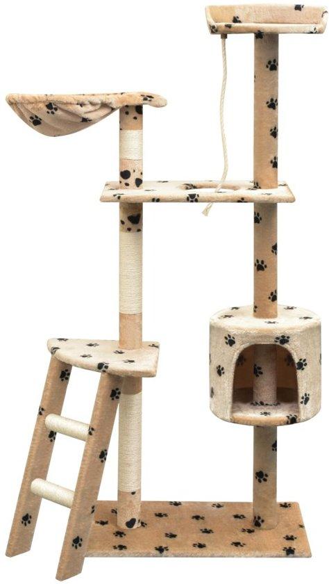 vidaXL Kattenkrabpaal met sisal krabpalen 150 cm pootafdrukken beige