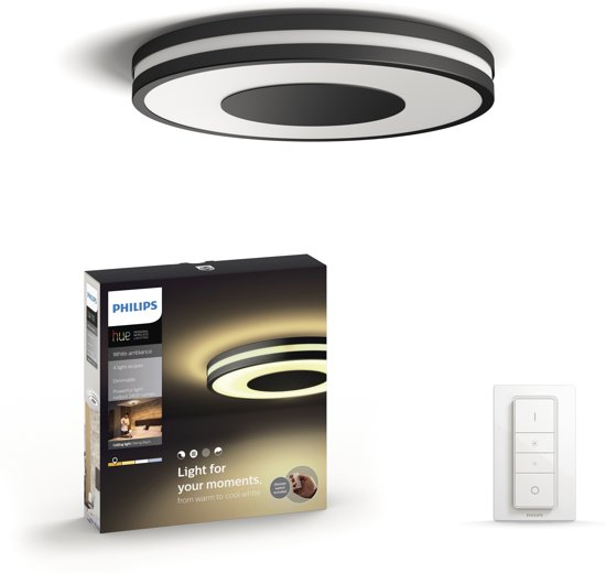 Philips Hue Being - White Ambiance - Plafondlamp - incl DIM switch - Zwart