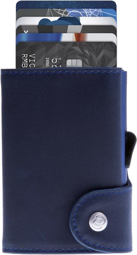 f4220cc1797 Leren Pasjeshouder / Luxe heren portemonnee met aluminium cardprotector /  RFID beveiliging / Uitschuifbare Smart Wallet