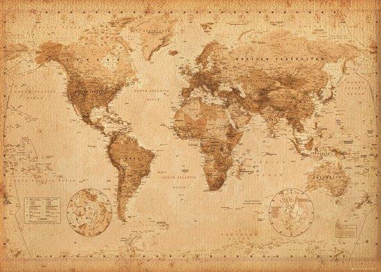 Wereldkaart antieke stijl poster  extra groot  100x140cm