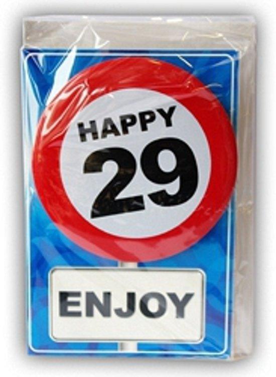 Happy Birthday kaart met button 29 jaar