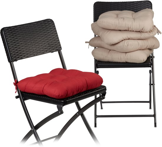 relaxdays - zitkussen 4 stuk - stoelkussen - tuinkussen - extra zacht - kussen