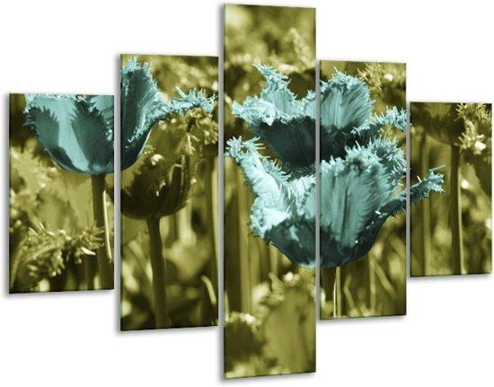 Glasschilderij Tulp | Blauw, Zwart, Groen | 100x70cm 5Luik | Foto print op Glas |  F003772