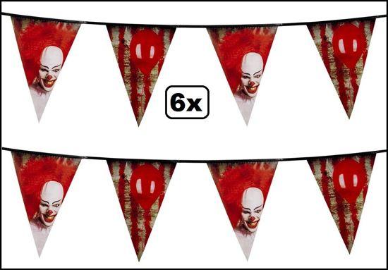 6x Vlaggenlijn horrorclown 6 meter - It clown griezel vlaglijn eng horror the IT