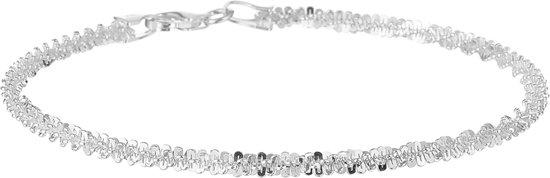 The Jewelry Collection Schakelarmband Gevlochten - Dames - Zilverkleurig - 18 cm