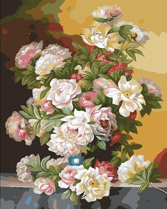 Schilderen op nummer bloemen 40 x 50 cm