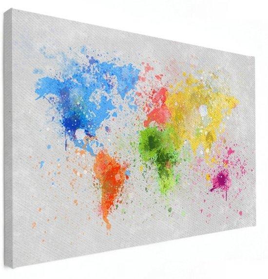 Wereldkaart wanddecoratie kleur canvas 60x40 cm | Wereldkaart Canvas Schilderij