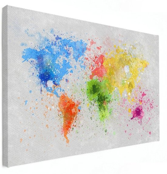Wereldkaarten.nl - Wereldkaart wanddecoratie kleur canvas 60x40 cm