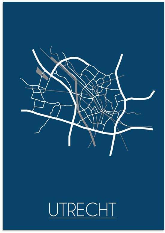 Plattegrond Utrecht Stadskaart poster DesignClaud - Blauw - A3 + fotolijst wit