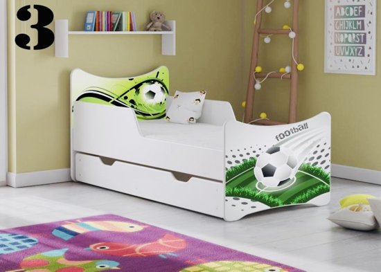 Tienerbed Incl Matras.Bol Com Kinderbed Wit Met Opdruk Football Incl Matras 3 Maten