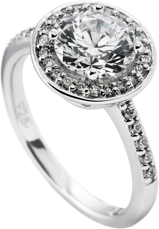 Diamonfire - Zilveren ring met steen Maat 16.0 - Rond - Bezette band