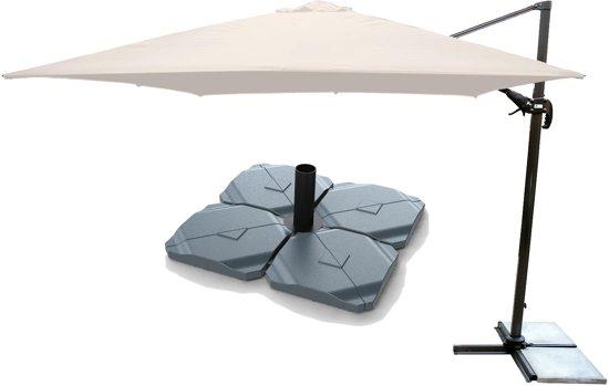 Parasolvoet Voor Zwevende Parasol.Kopu Vigo Parasol Met Voet 250 Cm X 250 Cm Naturel