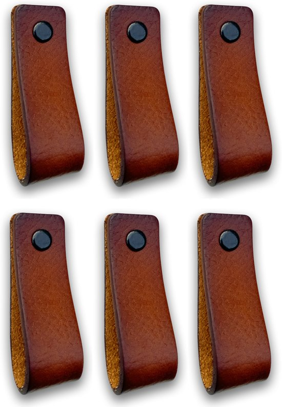 Leren Handgrepen Cognac 6 Stuks 165 X 25 Cm Incl 3 Kleuren Schroeven Voor De Hand Grepen