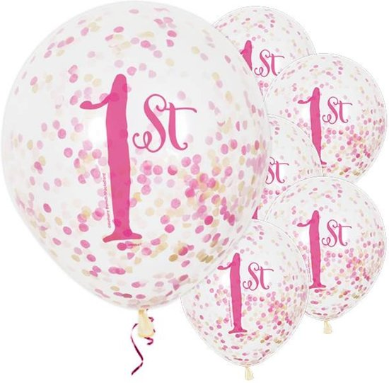Bol Com Ballonnen 1 Jaar Meisje 1e Verjaardag Roze 6