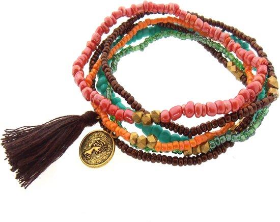 Sieraden4Life - Armband Indian Love - Set van 6 armbanden - Glas (Masai) kralen - licht blauw/bruin/zalm roze/groen/oranje