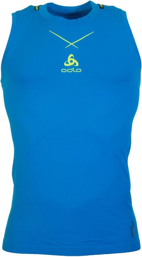 Odlo Singlet Crew Neck Ceramicool Seamless - Sportshirt - Heren - Blauw - Maat XL