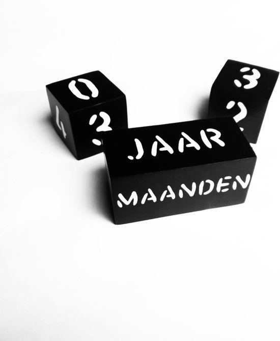 Mijlpaalblokken Zwart - Witte Letters