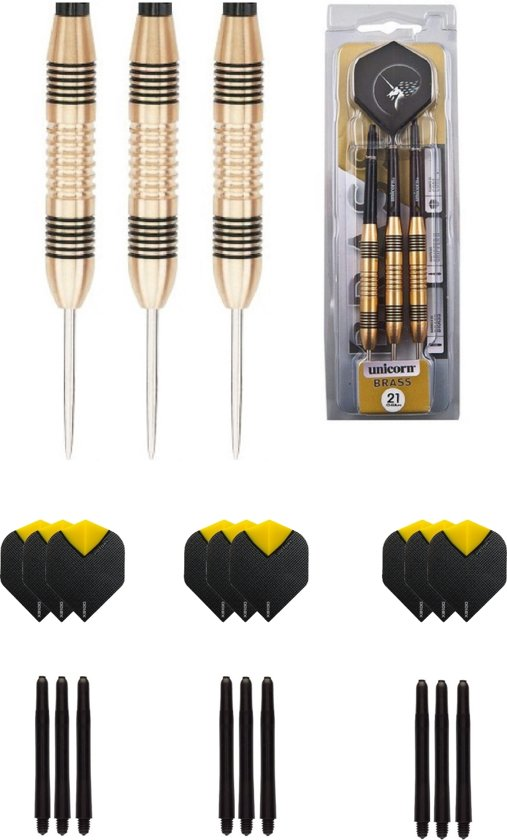 Unicorn Core Brass 25 gram dartpijlen met extra 9 extra - dartshaft - en 9 extra - dartflights