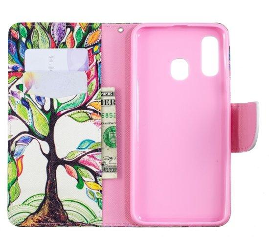 Let op type!! Gekleurde tekening patroon horizontale Flip lederen case voor Samsung Galaxy A40  met houder & kaartsleuven & portemonnee (levensboom)