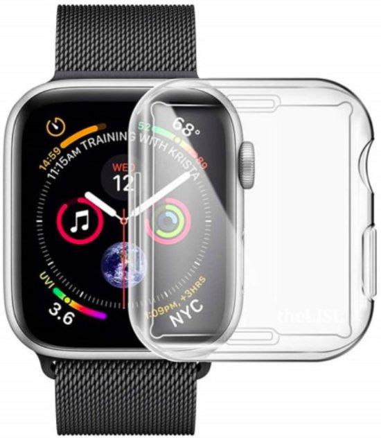 Apple Watch 4/5 44mm – Siliconen Bescherm Case | Full Cover| Bumper| Hoesje | Screenprotector Voor Apple Watch | Bescherming Hoesje iWatch – Transparant