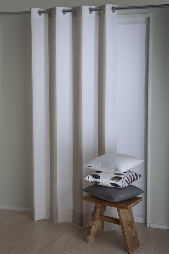 Okee! Biko Kant en klaar gordijn Beige - 140x270 cm - Per stuk