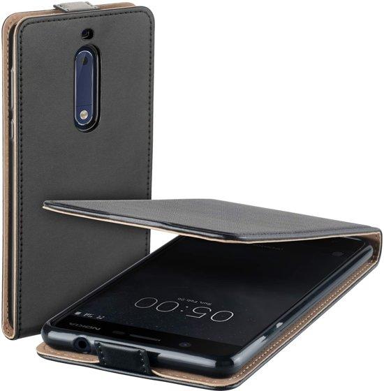 low priced 4c247 268a4 MP Case zwart eco lederen flip case voor Nokia 5 flip cover