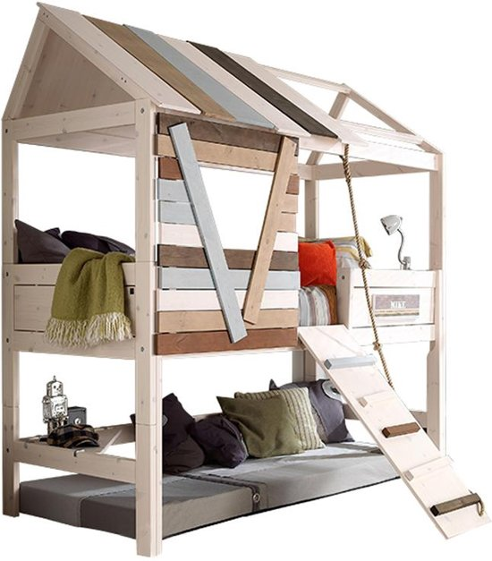Super bol.com | Lifetime Boomhut - Bed - met loopplank - white wash SM-17