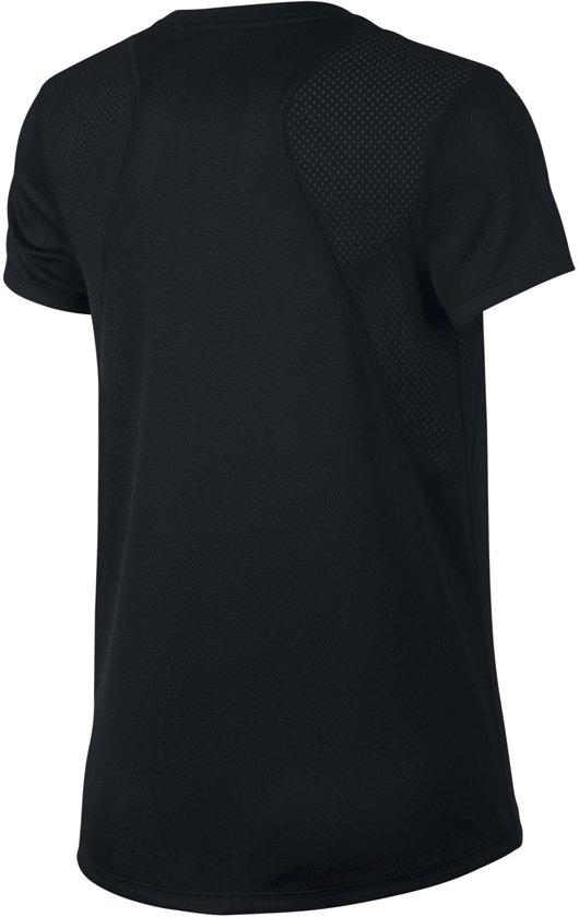 Nike Run Top Ss Sportshirt Dames - Black/Black/(Reflective Silv)